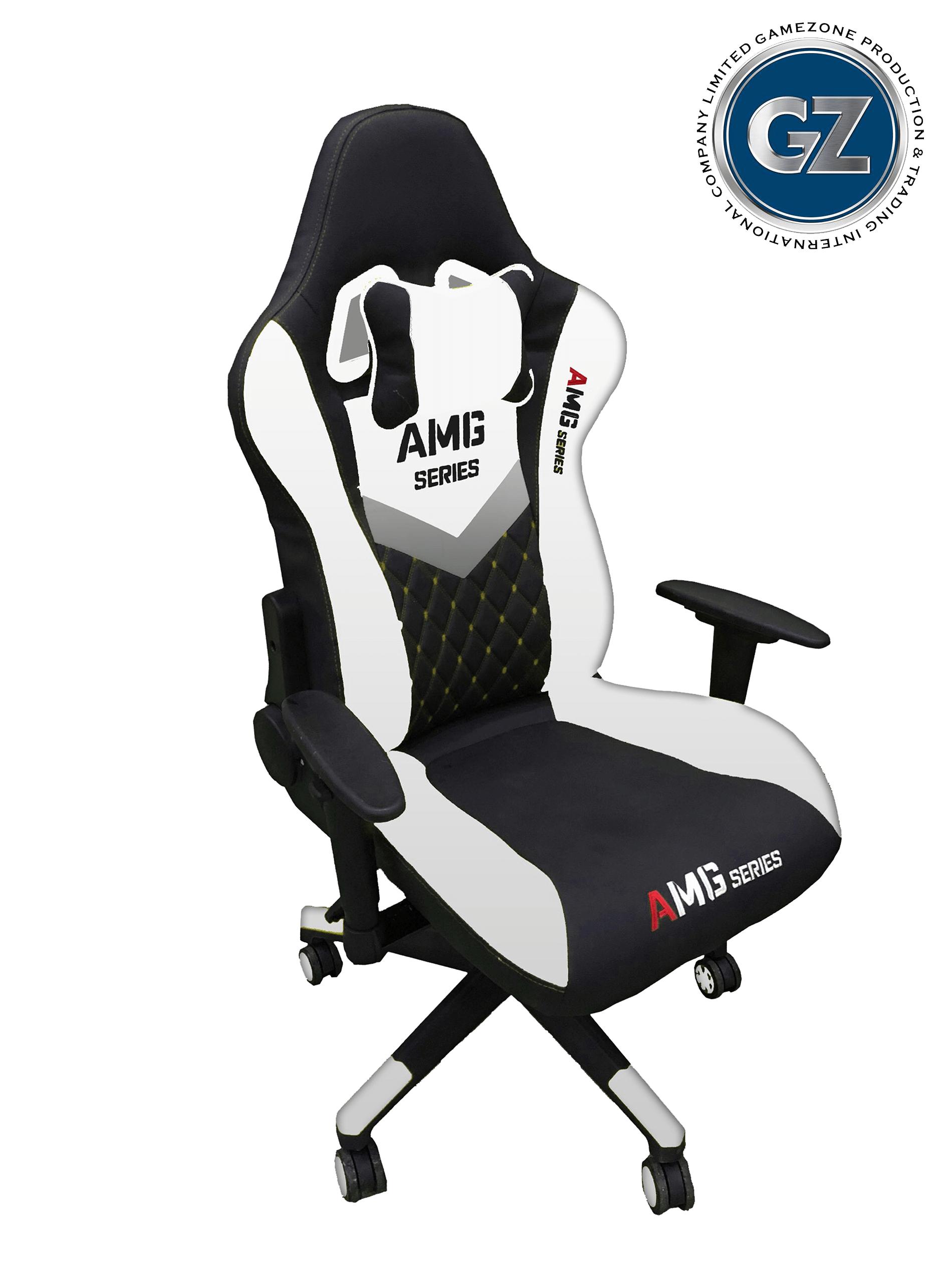 Ghế Game - GZ AMG Chân Xoay - Màu đen trắng